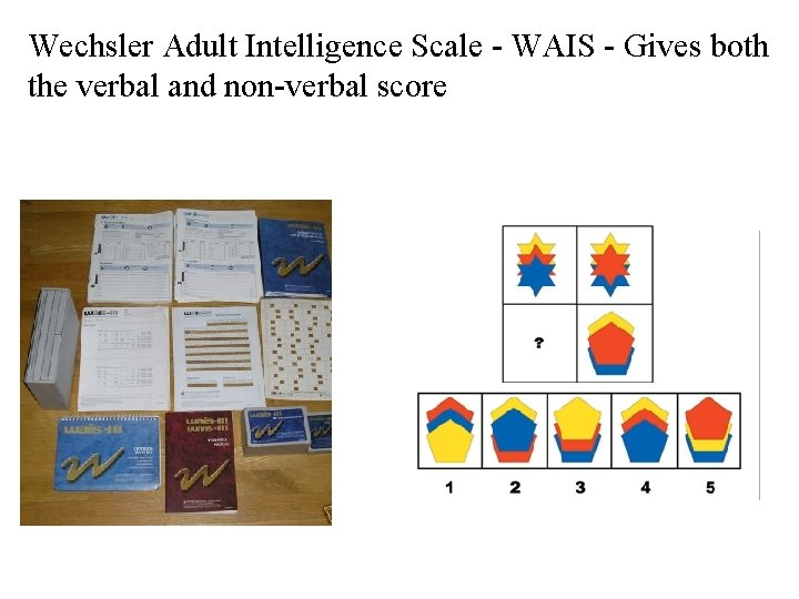 Wechsler Adult Intelligence Scale - WAIS - Gives both the verbal and non-verbal score