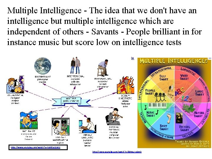 Multiple Intelligence - The idea that we don't have an intelligence but multiple intelligence
