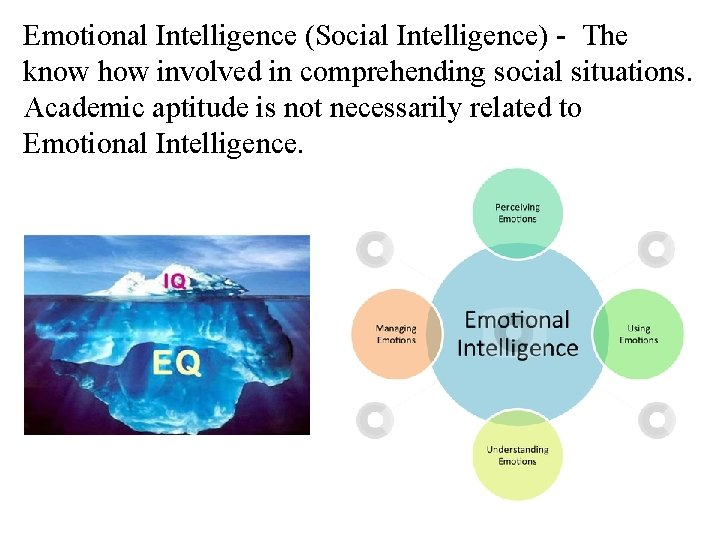 Emotional Intelligence (Social Intelligence) - The know how involved in comprehending social situations. Academic