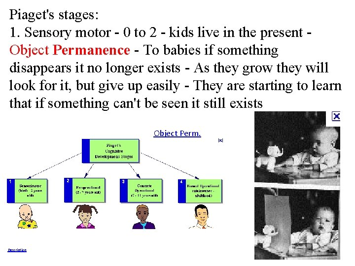 Piaget's stages: 1. Sensory motor - 0 to 2 - kids live in the