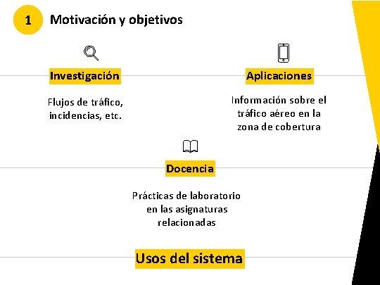 1 Motivación y objetivos Investigación Aplicaciones Flujos de tráfico, incidencias, etc. Información sobre el