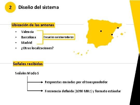 Diseño del sistema 2 Ubicación de las antenas • • Valencia Escuelas colaboradoras Barcelona