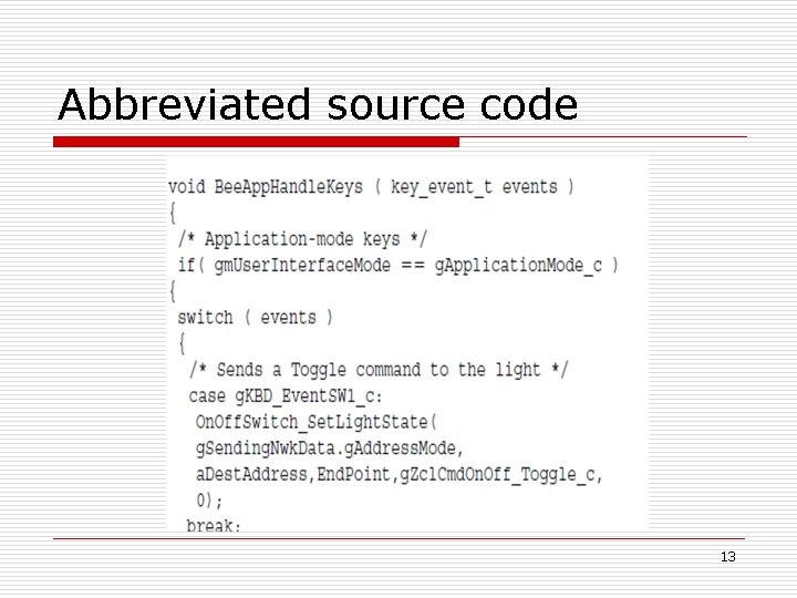 Abbreviated source code 13