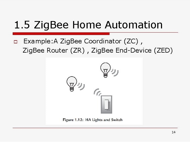 1. 5 Zig. Bee Home Automation o Example: A Zig. Bee Coordinator (ZC) ,