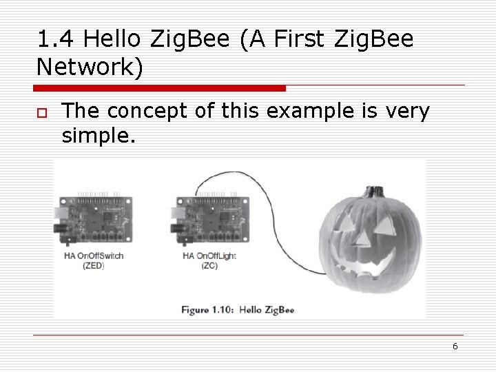 1. 4 Hello Zig. Bee (A First Zig. Bee Network) o The concept of
