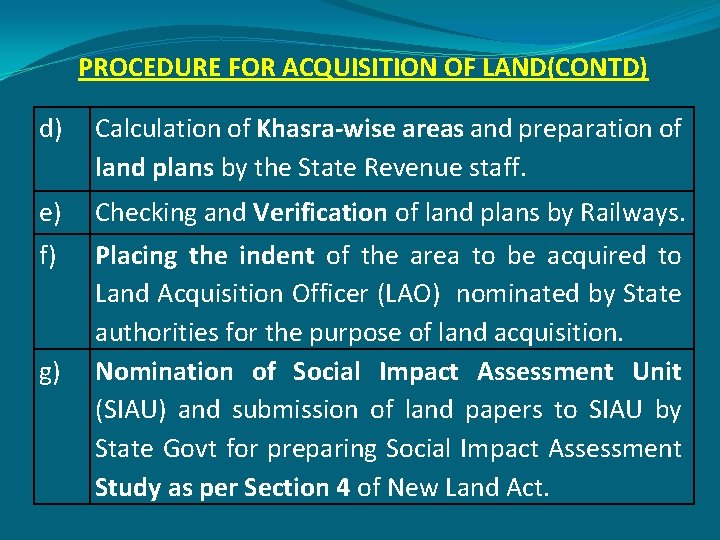 PROCEDURE FOR ACQUISITION OF LAND(CONTD) d) Calculation of Khasra-wise areas and preparation of land