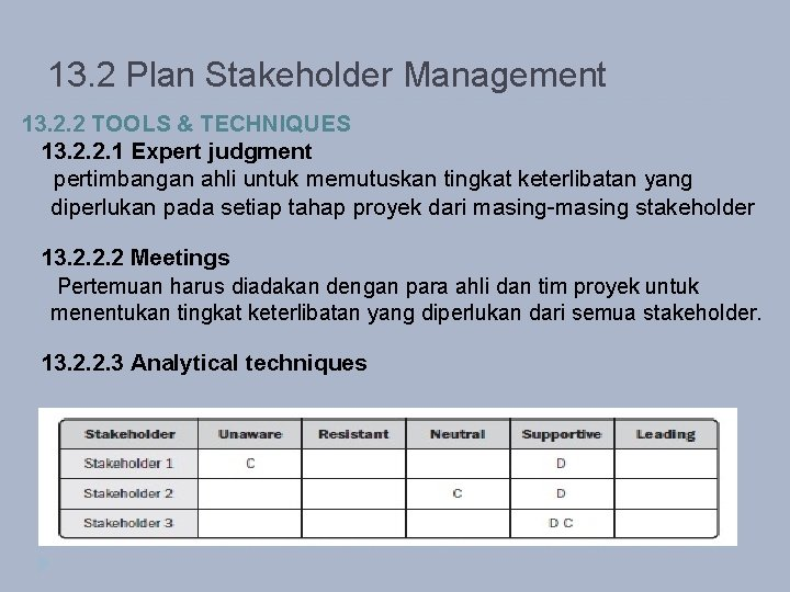 13. 2 Plan Stakeholder Management 13. 2. 2 TOOLS & TECHNIQUES 13. 2. 2.