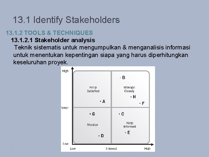 13. 1 Identify Stakeholders 13. 1. 2 TOOLS & TECHNIQUES 13. 1. 2. 1