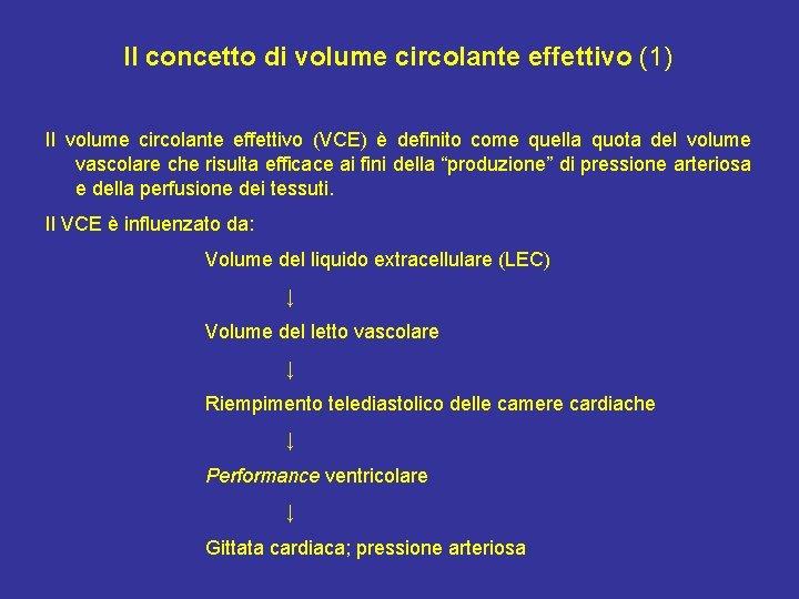 Il concetto di volume circolante effettivo (1) Il volume circolante effettivo (VCE) è definito