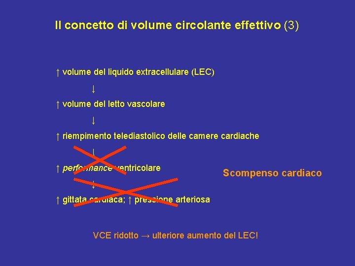 Il concetto di volume circolante effettivo (3) ↑ volume del liquido extracellulare (LEC) ↓