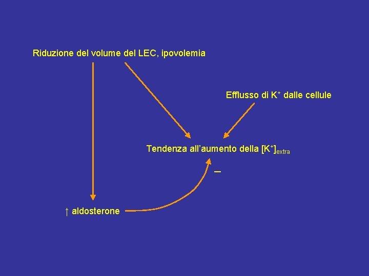Riduzione del volume del LEC, ipovolemia Efflusso di K+ dalle cellule Tendenza all'aumento della