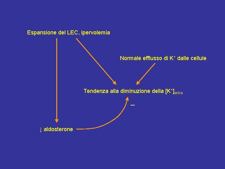 Espansione del LEC, ipervolemia Normale efflusso di K+ dalle cellule Tendenza alla diminuzione della