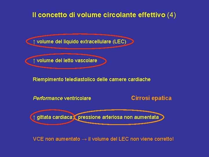 Il concetto di volume circolante effettivo (4) ↑ volume del liquido extracellulare (LEC) ↑