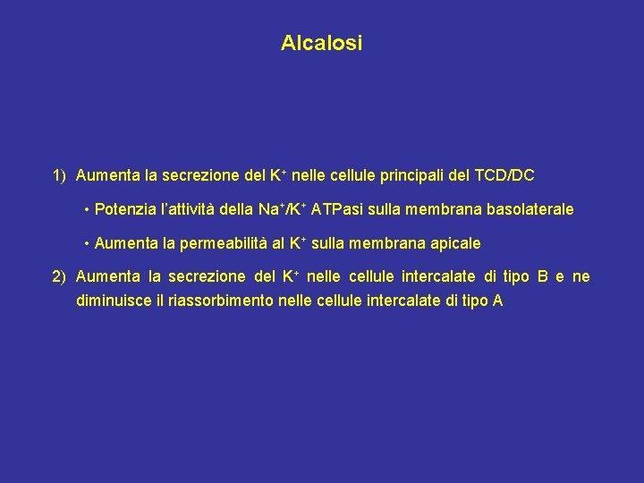 Alcalosi 1) Aumenta la secrezione del K+ nelle cellule principali del TCD/DC • Potenzia