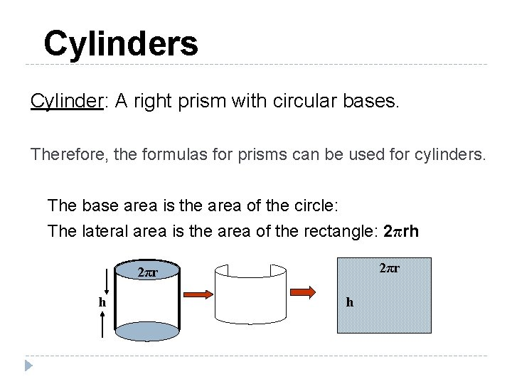 Cylinders Cylinder: A right prism with circular bases. Therefore, the formulas for prisms can