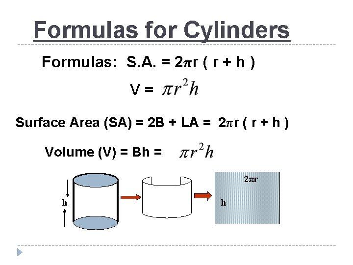 Formulas for Cylinders Formulas: S. A. = 2πr ( r + h ) V=