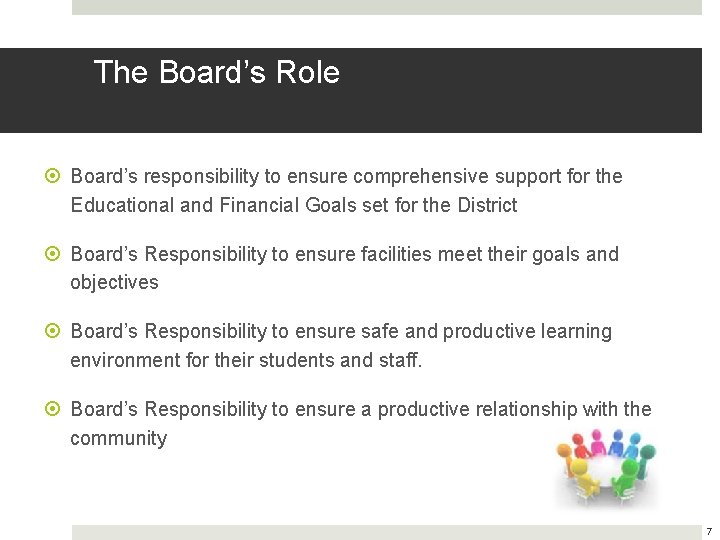 The Board's Role Board's responsibility to ensure comprehensive support for the Educational and Financial