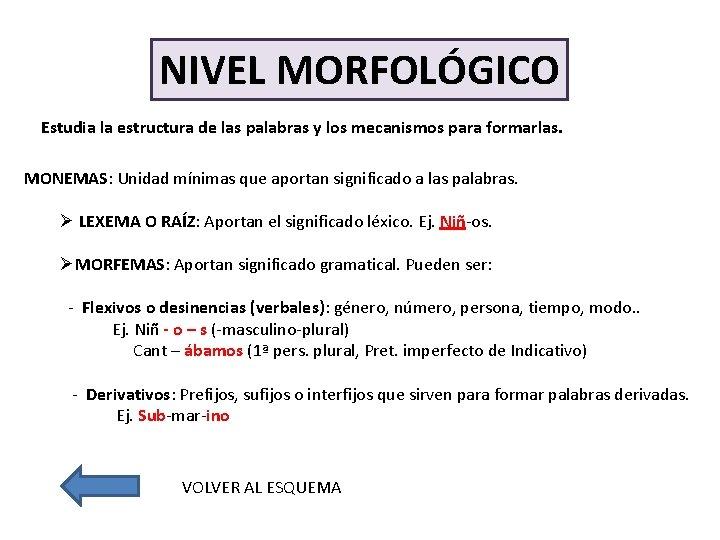 NIVEL MORFOLÓGICO Estudia la estructura de las palabras y los mecanismos para formarlas. MONEMAS: