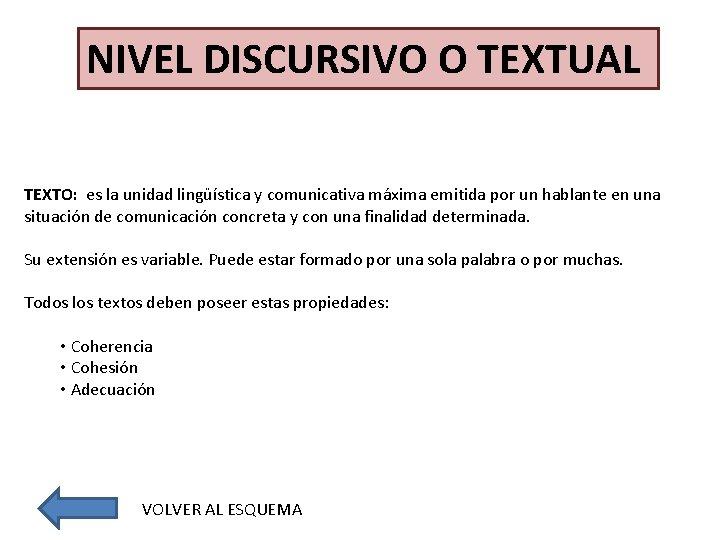 NIVEL DISCURSIVO O TEXTUAL TEXTO: es la unidad lingüística y comunicativa máxima emitida por