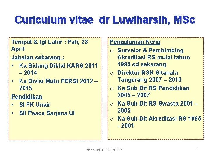 Curiculum vitae dr Luwiharsih, MSc Tempat & tgl Lahir : Pati, 28 April Jabatan
