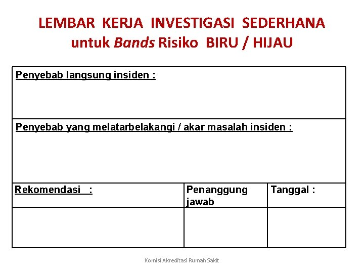LEMBAR KERJA INVESTIGASI SEDERHANA untuk Bands Risiko BIRU / HIJAU Penyebab langsung insiden :