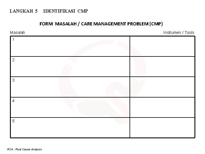 LANGKAH 5 IDENTIFIKASI CMP FORM MASALAH / CARE MANAGEMENT PROBLEM (CMP) Masalah 1 2