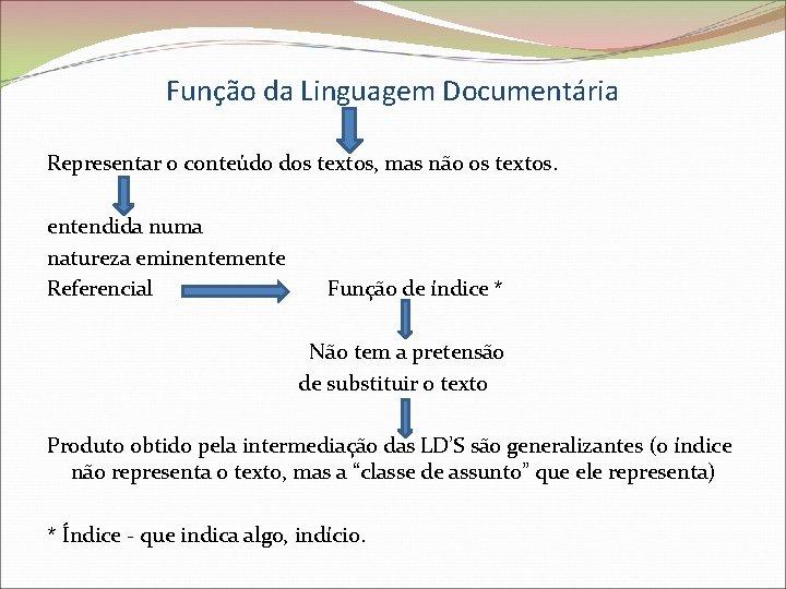 Função da Linguagem Documentária Representar o conteúdo dos textos, mas não os textos. entendida