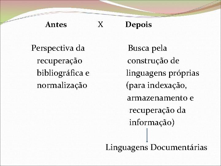 Antes X Depois Perspectiva da Busca pela recuperação construção de bibliográfica e linguagens