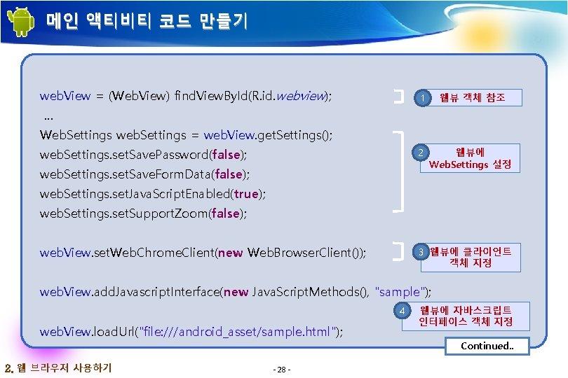 메인 액티비티 코드 만들기 web. View = (Web. View) find. View. By. Id(R. id.