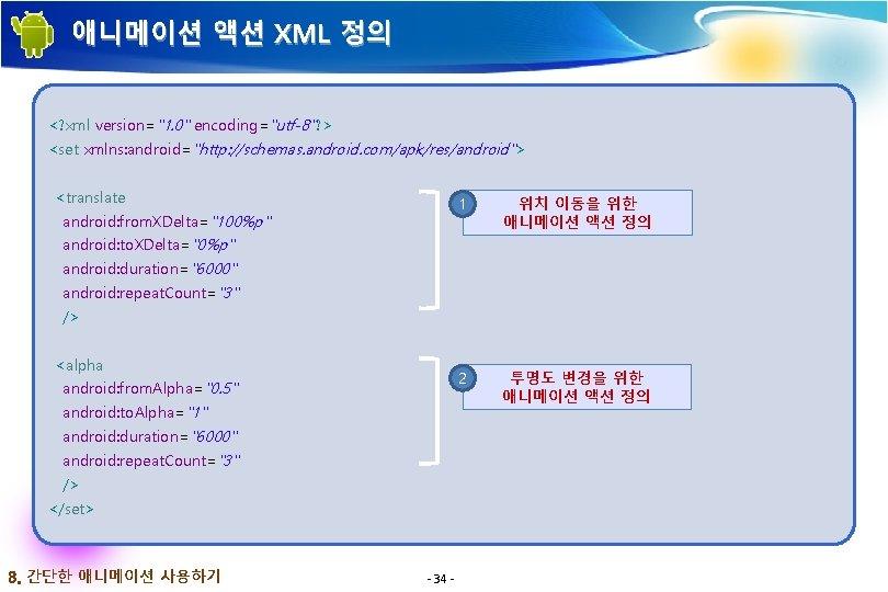 """애니메이션 액션 XML 정의 <? xml version=""""1. 0"""" encoding=""""utf-8""""? > <set xmlns: android=""""http: //schemas."""