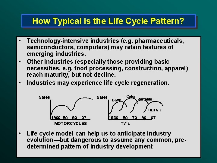 How Typical is the Life Cycle Pattern? • Technology-intensive industries (e. g. pharmaceuticals, semiconductors,