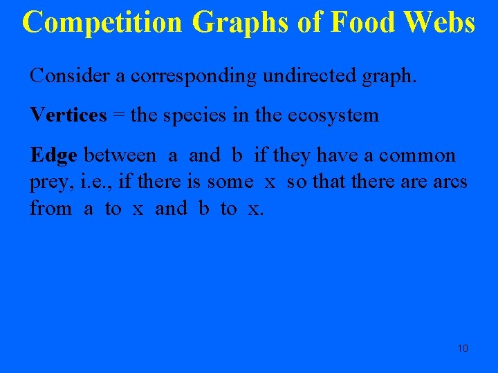 Competition Graphs of Food Webs Consider a corresponding undirected graph. Vertices = the species