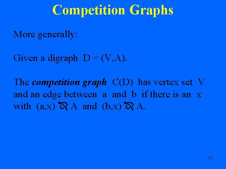 Competition Graphs More generally: Given a digraph D = (V, A). The competition graph