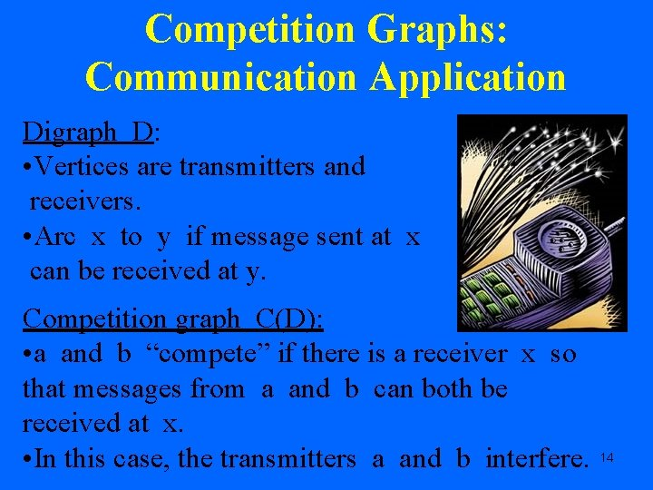 Competition Graphs: Communication Application Digraph D: • Vertices are transmitters and receivers. • Arc