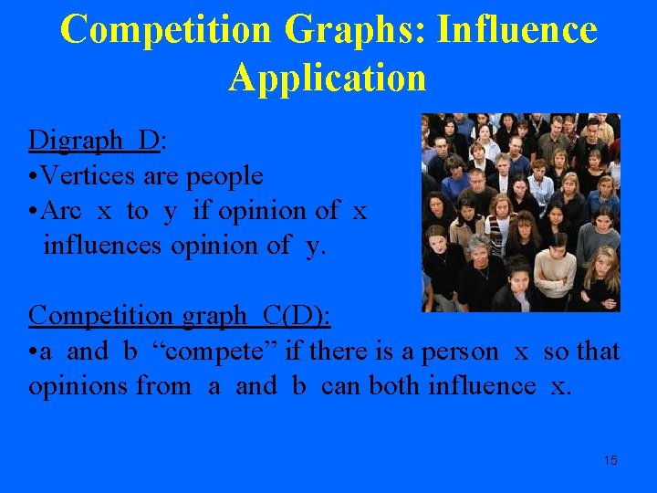 Competition Graphs: Influence Application Digraph D: • Vertices are people • Arc x to