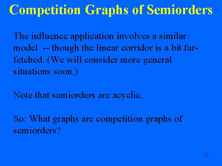 Competition Graphs of Semiorders The influence application involves a similar model -- though the