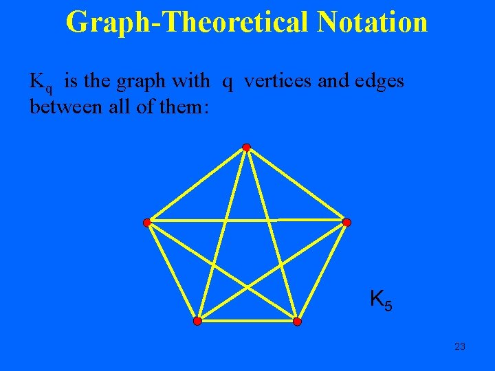 Graph-Theoretical Notation Kq is the graph with q vertices and edges between all of