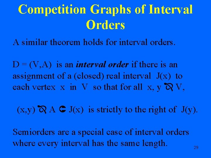 Competition Graphs of Interval Orders A similar theorem holds for interval orders. D =