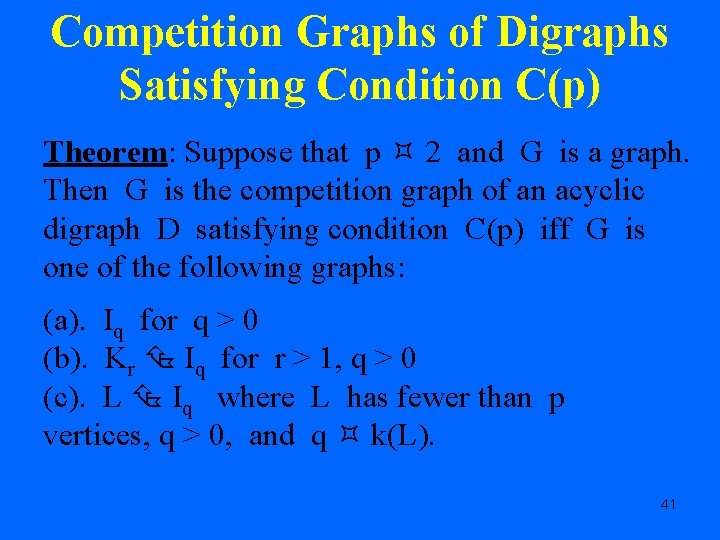 Competition Graphs of Digraphs Satisfying Condition C(p) Theorem: Suppose that p 2 and G