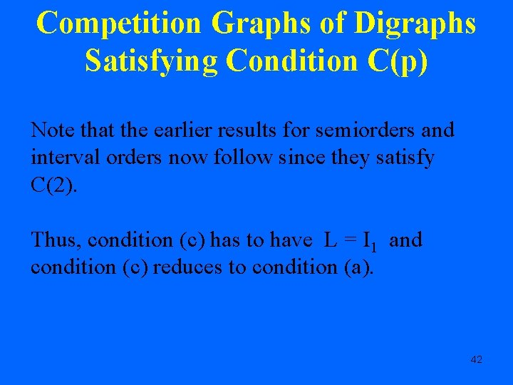 Competition Graphs of Digraphs Satisfying Condition C(p) Note that the earlier results for semiorders