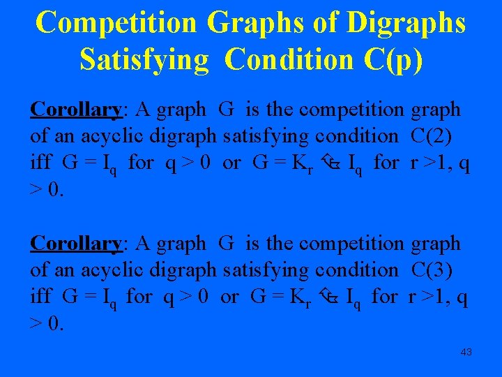 Competition Graphs of Digraphs Satisfying Condition C(p) Corollary: A graph G is the competition