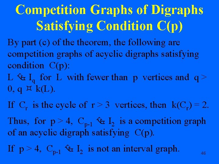Competition Graphs of Digraphs Satisfying Condition C(p) By part (c) of theorem, the following