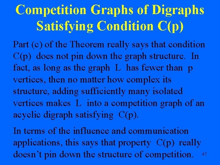 Competition Graphs of Digraphs Satisfying Condition C(p) Part (c) of the Theorem really says