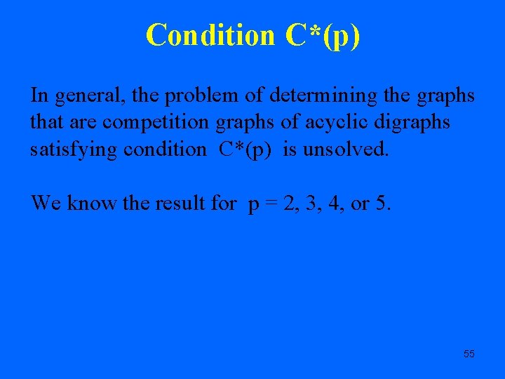 Condition C*(p) In general, the problem of determining the graphs that are competition graphs