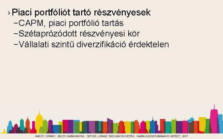 › Piaci portfóliót tartó részvényesek – CAPM, piaci portfólió tartás – Szétaprózódott részvényesi kör