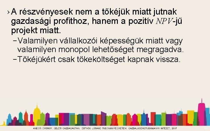 › A részvényesek nem a tőkéjük miatt jutnak gazdasági profithoz, hanem a pozitív NPV-jű