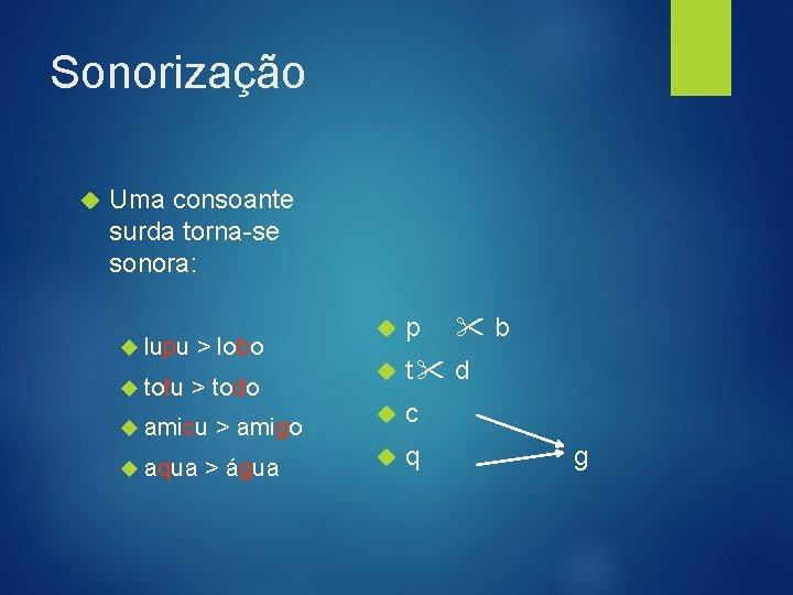 Sonorização Uma consoante surda torna-se sonora: lupu > lobo totu > todo amicu aqua