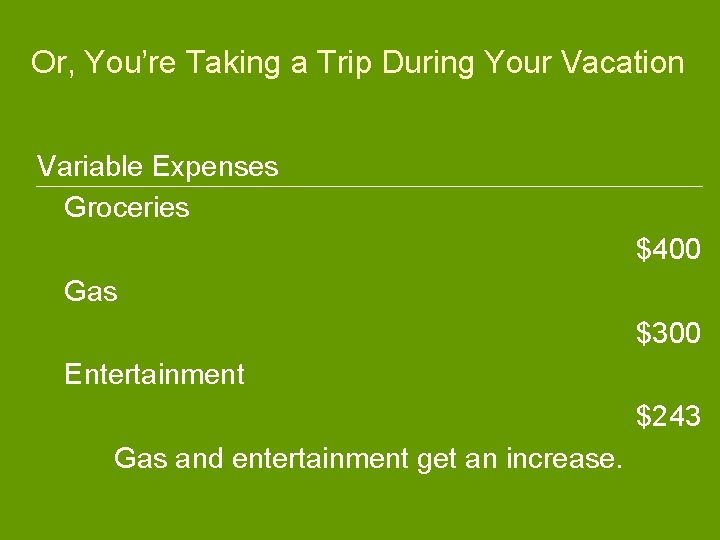 Or, You're Taking a Trip During Your Vacation Variable Expenses Groceries $400 Gas $300