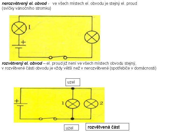 nerozvětvený el. obvod - ve všech místech el. obvodu je stejný el. proud (svíčky