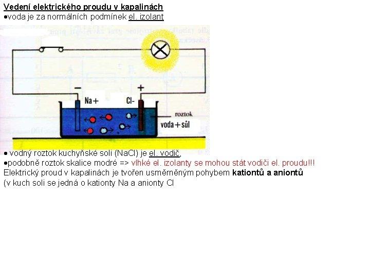 Vedení elektrického proudu v kapalinách voda je za normálních podmínek el. izolant vodný roztok